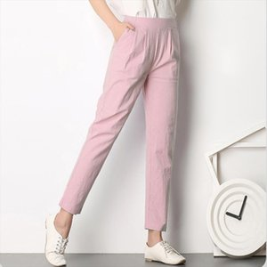 Breathable Womens Casual Trousers New Summer Autumn Plus Size Thin Linen Pents Female Slim Pants Elastic Pantalones Mujer