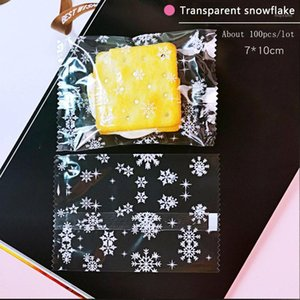 100pcs lot 2020 New Cookie Packaging Bag Transparent Pack Snowflake Handmade Blessing Birthday Wedding Party Plastic Bags 7*101