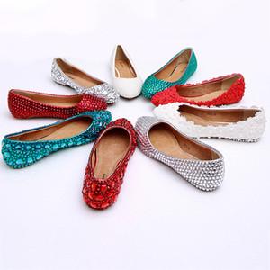 Appartements Ballettes pour femmes Pantoufles en verre Rouge Blanche Blanche Mode Cuir Véritable Chaussures Dames LD82