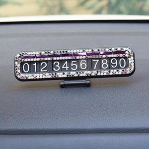Fashion Simple Crystal Car Styling Temporary Parking Card Diamond With Suckers Phone Number Card Plate Car Accessories H wmtoAP