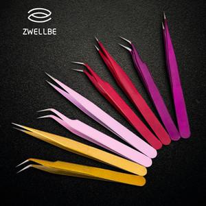 2pcs lot Anti-static Precision Tweezers Set Pinzas Pincet Stainless Steel Eyebrow Tweezer Eyelash Extension Tools Makeup Kit