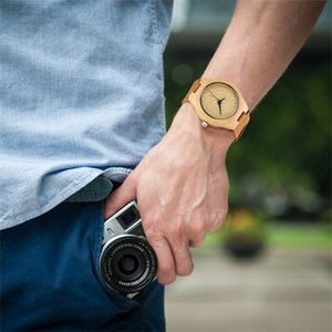 Special Deals Men's Wood Watches Natural Wooden Quartz Genuine Leather Wristwatch Hot Fashion Wooden Timepiece Gifts for Male 201212