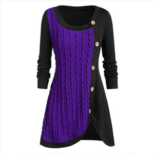 New Plus Size Women O neck Long Sleeve Tunic Shirt Button Womens Clothing Striped Fashion Womens Tops And Blouses Roupa Feminina