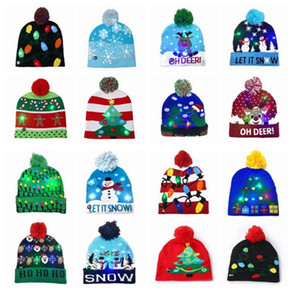 Led Christmas Knitted Hats Kids Baby Moms Winter Warm Beanies Pumpkin Snowmen Crochet Caps Halloween party hair accessories YHM122-1