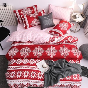 Sheets Snowflake Bedding Set Gift Christmas Decoration For Home Navidad 2019 Bedroom New Year 2020 Bed Four-piece