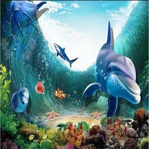 Dropship Custom Mural 3D Stereo Personality Large Mural Children's Room Living Room Aquarium Underwater World Wallpaper