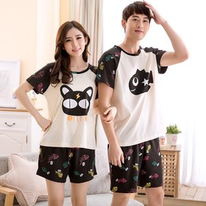 New summer lovers pajamas cartoon cat and fish cute girls pijama high quality sleepwear men plus size XXXL pyjamas women Q1202
