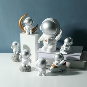 Nordic Kids Room Decor Resina Astronauta Ornamento Resina Spaceman Figurine Decor para Bebê Menino Crianças Sala Vida