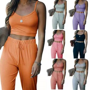 Women s Clothing 2 Piece Set Spring Summer Two Piece Outfits 2021 New Women's Suspender Pants Casual Fashion Yoga Suit 8207