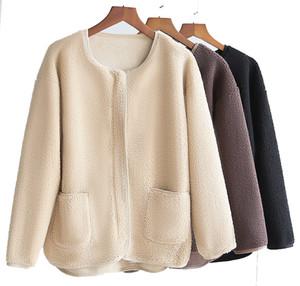 2021 New Ferber Fleece Coat for Women Warm Faux Sheepskin outdoor Jacket Loose Thin Female Outwear Women's Faux Fur Coats