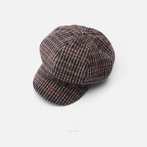 Luxury-USPOP 2020 New Women Hats Winter Wool Hats Plaid Octagonal Hat Newsboy Cap Berets