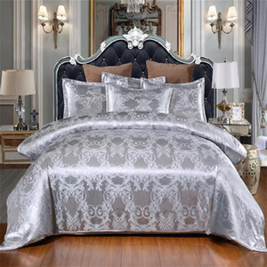 Sliver Gold Luxury Seta Silk Satin Jacquard Cover Duvet Biancheria da letto Set da letto US Queen King Size 3 Pz Set da letto
