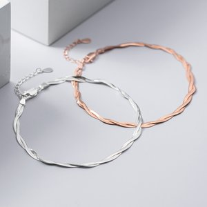 MIQIAO Double-layer Snake Chain Anklet For Women 925 Sterling Silver Foot Jewelry Fashion Rose gold color Ornament 2020 Platform