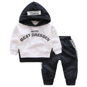 Spring Autumn Kids Cotton Clothes Sets Baby Girls Boys Sports Hooded T-Shirt Pants 2pcs Sets Fashion Children Casual Tracksuits
