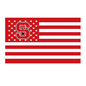 North Carolina State Wolfpack Stars Stripes Flag NCAA Flag 3x5FT Double Stitched Decoration Banner 90x150cm Sports Digital Printed Wholesale