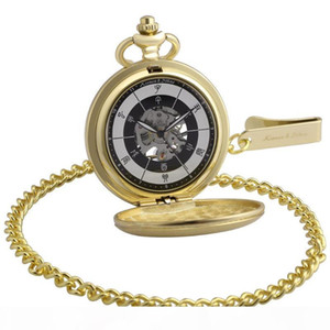 Bronze Chinese 12 two-hour Periods Number Skeleton Steampunk Analog Male Fobs Chain Clock Men Mechanical Pocket Watch KSP084