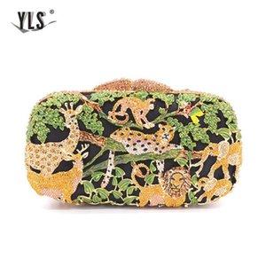 Party Ladies Clutch Women's Luxury Diamond Evening Rainforest Jungle Animal Zoo Design Crystal Bags Bridal Wedding Handbag