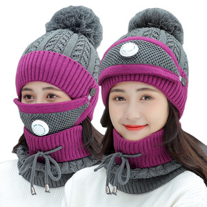 New 3PCS Knitted Winter Warm Ski Hat Scarf Set Women Thicken Skullies Beanies and Ring Scarf Female Accessories Girls Gift