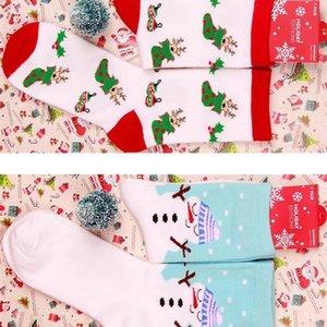 Christmas Women Winter Red Xmas Sock Elk Deer Stocking Cartoon Cotton Keep Warm Adult Girl Boy Soft Socks OWB1995