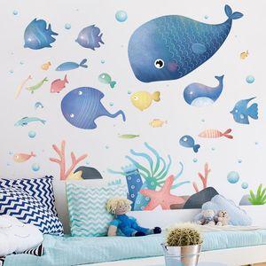 [SHIJUEHEZI] Underwater World Marine Fish Wall Stickers Cartoon DIY Wall Decals for House Kids Rooms Baby Bedroom Decoration