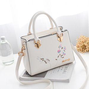 Fashion Women Handbag Tassel PU Leather Tote Bag Top-handle Embroidery Crossbody Bag Shoulder Lady Simple Style