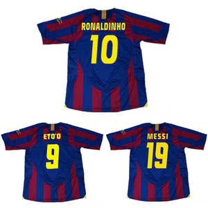 أعلى 2006 ucl النهائي Barcelona ronaldinho الرجعية الفانيلة xavi الكلاسيكية خمر ميسي لكرة القدم جيرسي لارسون لكرة القدم قميص eto'o مايوه دي القدم