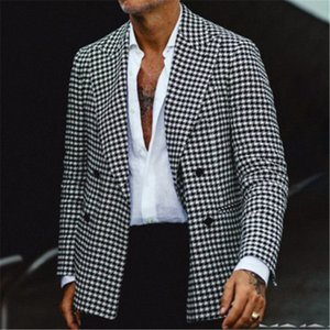 Man Plaid Suit Jacket Fashion Trend Long Sleeve Cardigan Buttons All-match Outerwear Designer Male Winter New Lapel Casual Slim Coats