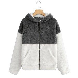 ladies sweatshirt with hood Women Casual Zipper Patchwork Hooded Top Sweatshirt With Pockets Coat women hoodies sweatshirts LLS150