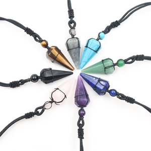 XSM Hexagon Cone Crystal Pendant Black Rope Wrapped Necklaces Natural Stone Amethysts Quartzs Agates Jewelry for Men Women 1 Pc