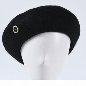 2020 new metal H standard wool beret autumn and winter casual wild cap