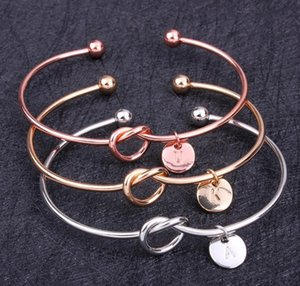 26 Letter Rose Gold Silver Gold Love Knot Bracelet Bangle Girl will you be my bridesmaid Jewelry Personality Round Pendant Bracelets 600pcs