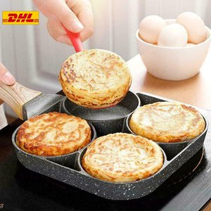 4 Hole Egg Frying Pan Fried Egg Burger Pan Non-stick Pancake omelette pan Wooden Handle Suitable Gas Stove And Induction Cooker Kitchen Tool