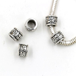 100pcs Antique Silver 5.5mm Hole zinc alloy Tube Bead Spacers Charm For Jewelry Making Bracelet Necklace DIY Accessories
