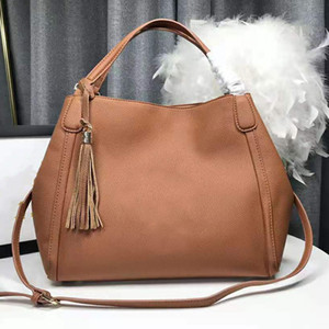 Solid Color Popular Handbag High Quality Fashion Messenger Bags Genuine Cowhide Women's Versatile Shopping Bag Classic Trend Large Capacity