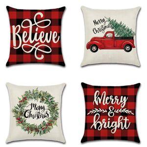 Cojín / almohada decorativa Cojín de Navidad Cubierta de cojín 45 * 45 Funda de almohada Sofá Cojines Casos de algodón Ropa de algodón Cubiertas de tela escocesa