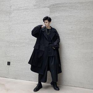 EWQ   men's wear mid-length windbreaker coat Autumn lapel Jacquard fabric pattern split big pocket trech coat tide new 9Y3965
