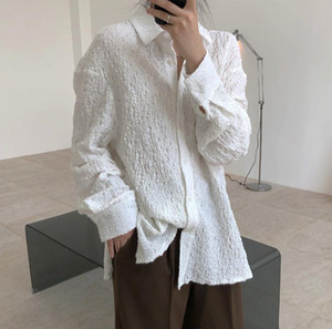 SuperAen 2021 Spring New Vintage Wrinkle Texture Solid Full White Shirt All Match Slim Top Blouse Women