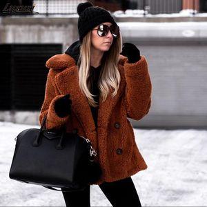 Luzuzi 11 Colors Casual Teddy Coat Winter Fleece Plus Size Warm Thick Faux Fur Jacket Coat Women Pockets Plush Overcoat Outwear