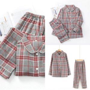 568 Family Matching Pajamas Jumpsuit Clothes Father Mommy Baby MUJI Plaid Print Pajamas Mother Girl MUJI-style Sleepwear Long Warm Sleeve