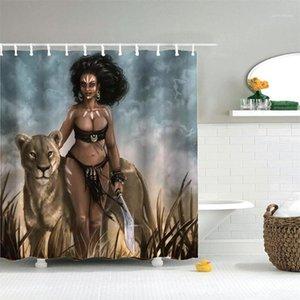 Dafield Sexy афро американская женщина с диким леопардом водонепроницаемый полиэстер ванная комната африканский дизайн душевой кабинет1