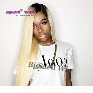 Synthetic 1b 613 black blonde ombre synthetic Lace wig straight glueless synthetic lace front wig African American lace front wig