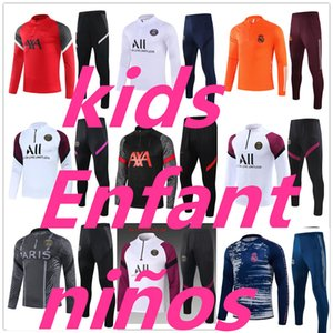 20 21 Kids Tracksuit Set Boys Football Training Futebol Formação Terno 2020 2021 Erfant Survection De Foot Jogging Child