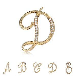 A to Z 26 English Letters Brooches Crystal Lapel Pin Brooches Collar Fashion Jewelry