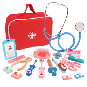 Wooden Pretend Play hospital Doctor Educationa Toys for Children Simulation Medicine Chest Set for Kids Interest Development F1216