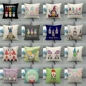 45 Designs Pillow Case Happy Easter Letter 45*45cm Sofa Nap Cushion Home Decoration Gnome Rabbit Faceless Dwarf Hug Egg Pillow Cover