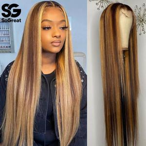 Resaltar pelucas de encaje frente cabello humano ombre ombre recto 28 30 pulgadas peluca brasileña 13x1 HD Full Frontal Honey Blonde Lamas delanteras