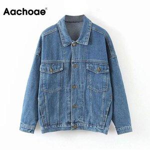 Aachoae Kadınlar Streetwear Denim Ceket Pockets ile 2020 Batwing Uzun Kollu Tek Göğüslü Ceket Gevşek Down Yaka Dış Giyim