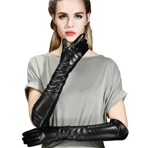 Long sheepskin gloves women's winter warm driving ski motorcycle 50 cm touch screen leather gloves arm sleeve 201021