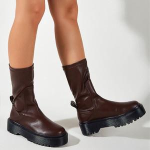 GIGIFOX beste Qualität Marke Trendy Chunky Absatz-Plattform-Brown-Herbst-Winter-Schuhe Damen-Mode-Beleg auf Freizeit Stiefel Schuhe