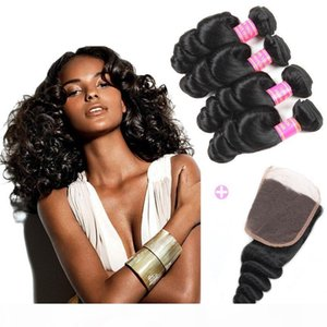 Malaysian Cheap 8A Loose Wave 4 Bundles with Swiss Lace Closure Free Middle 3 Part Double Weft 100% Unprocessed Virgin Human Hair Extensions